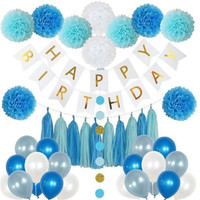 85 Pieces Birthday Party Decoration Set for Boys or Girls Includes Happy Birthday Banner, 20 Party Balloons, 10 Paper Pom Poms