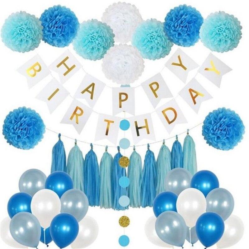 85 pièces ensemble de décoration de fête d'anniversaire pour garçons ou filles-comprend bannière joyeux anniversaire, 20 ballons de fête, 10 pompons en papier