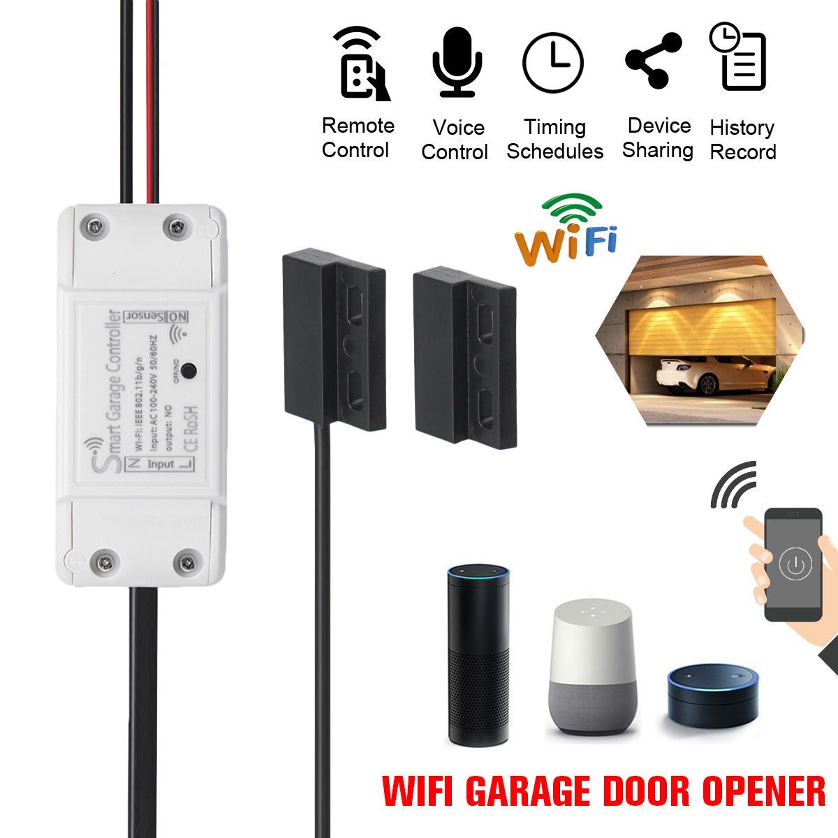 NEW WiFi Switch Smart Garage Door Opener Controller with Alexa Google Home and IFTT Smart Life/Tuya APP controlNEW WiFi Switch Smart Garage Door Opener Controller with Alexa Google Home and IFTT Smart Life/Tuya APP control