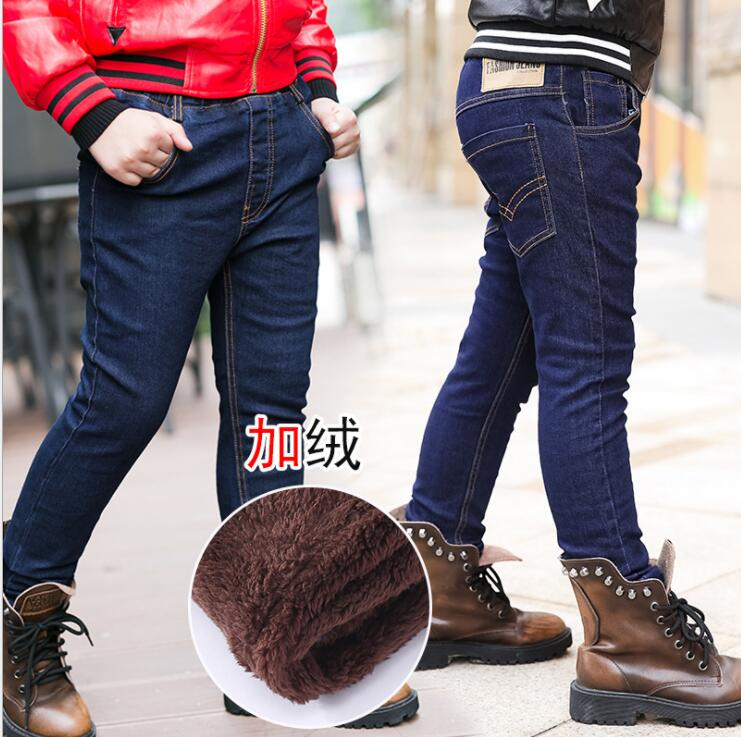 New Brand Winter Boys Jeans Thicken Boys Jeans Warm Kids Trousers Elastic Waist Demin Pants For Children Causal Boy Baby Jeans(China)