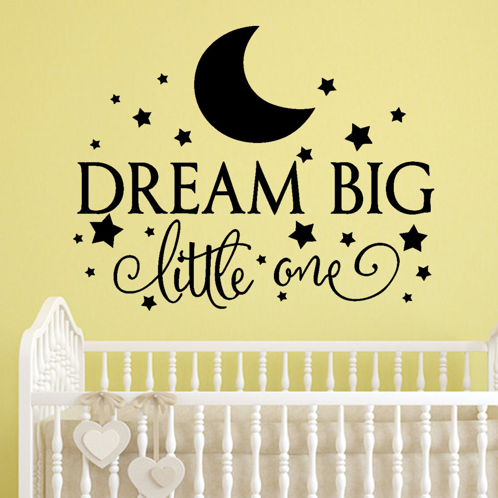 Dream Big Little One Quoted Removable Wall Sticker For Kids Room ...