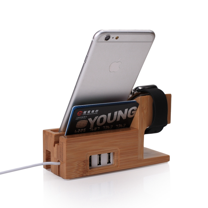 Phone Holder Watch Stand Charging Dock 3-port USB Bracket Station For Apple Watch 7 plus X/For Galaxy S10 S10E S9 Plus Luxury plywood