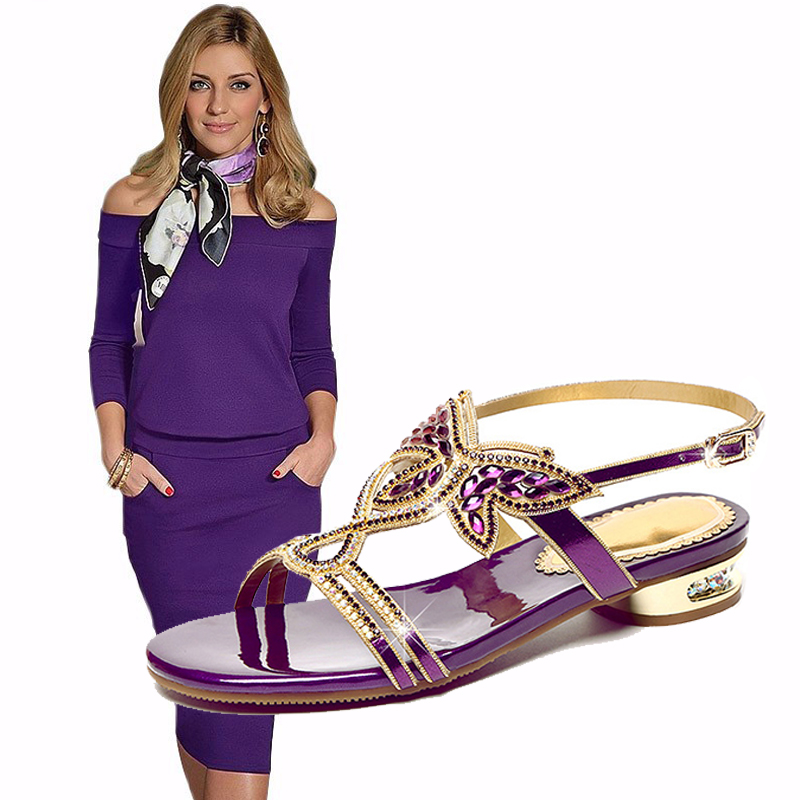 Elegant Rhinestone Leather Sandals Women Fashion Woman Clothes Shoes Match Purple Black Brown Tight Dress Clothes