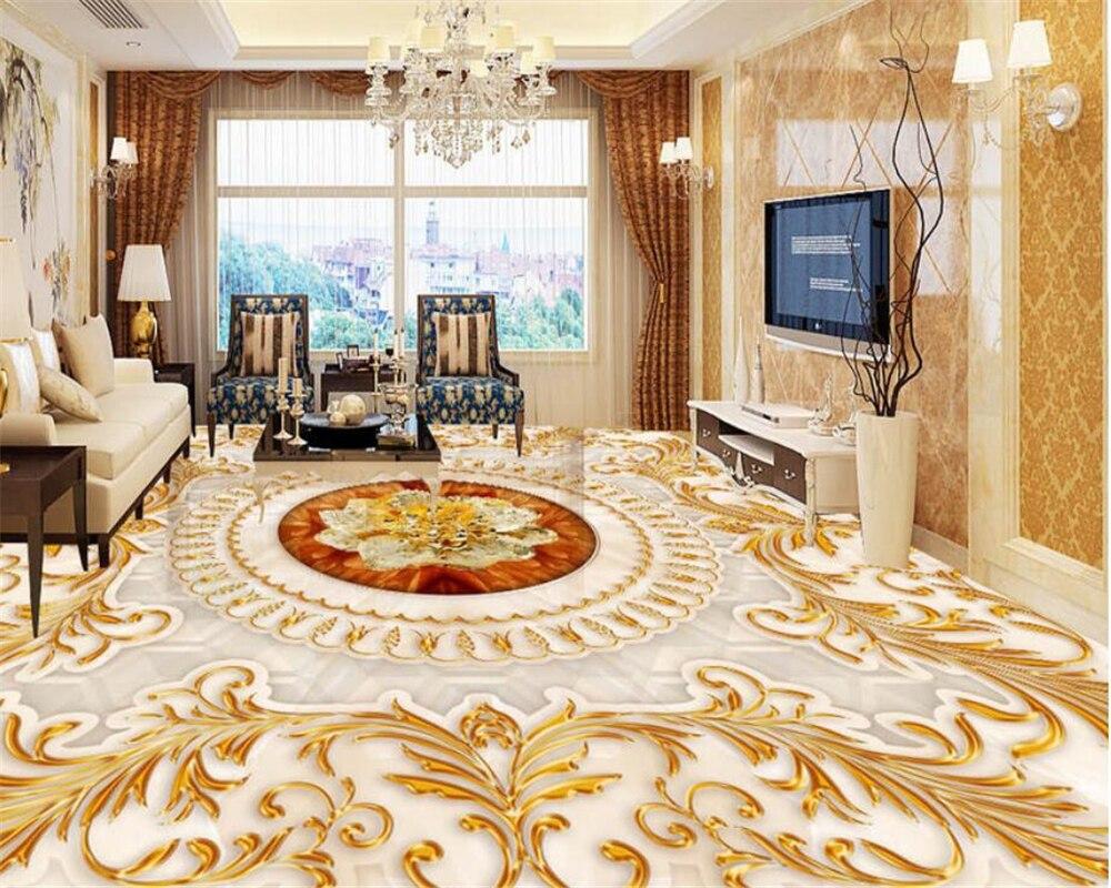 US $18 81 OFF Beibehang Lantai 3D Wallpaper Gaya Eropa Ruang Tamu Mewah Golden Rose Marble Hotel Lobi Dekorasi 3D Lantai Tapety Floor 3d Floor 3d