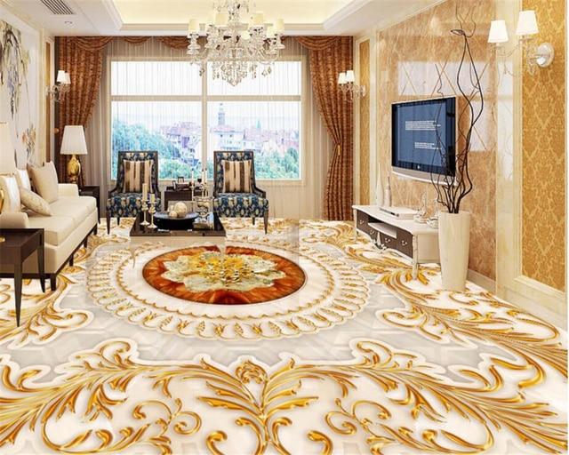 Marmer In Woonkamer : Beibehang vloeren 3d wallpapers europese stijl woonkamer luxe golden