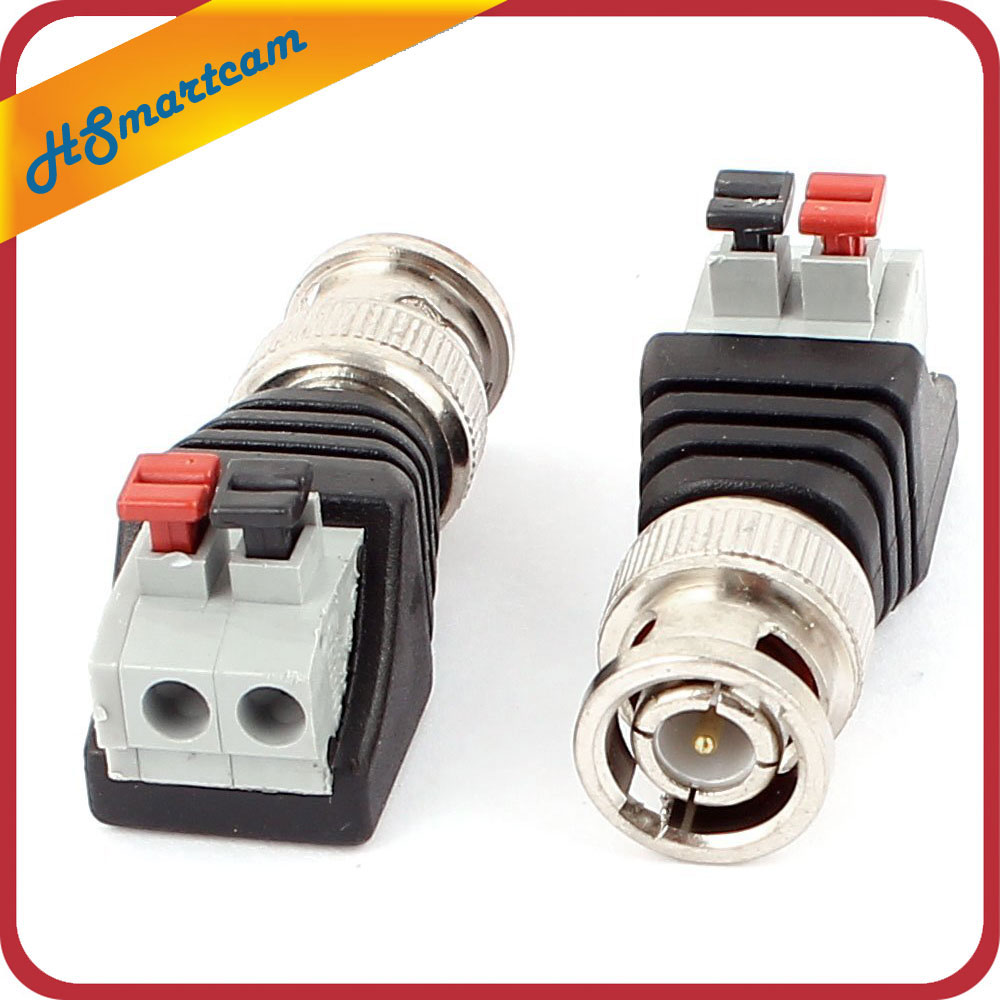 цена на 4 Male Coax CAT5 To Coaxial BNC Cable Connector adapter Camera CCTV Video Balun