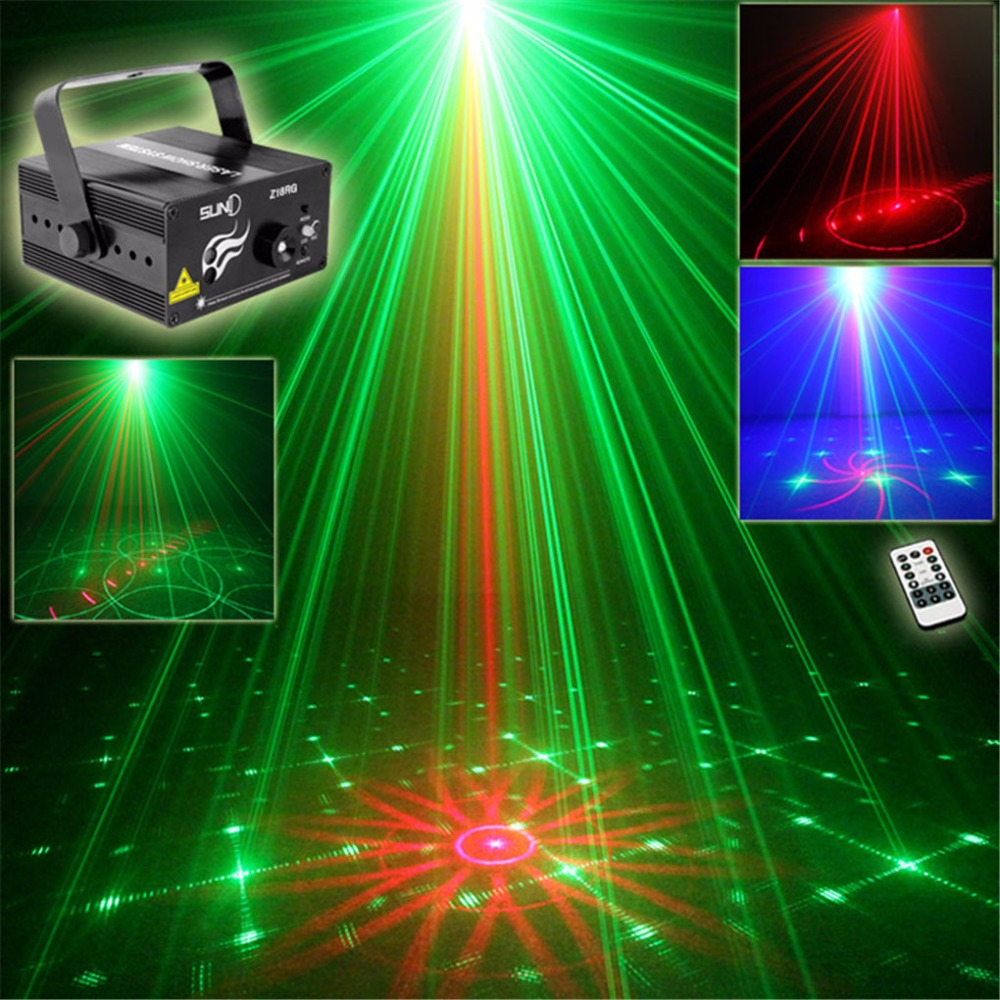 AUCD Mini Remote 18 Patterns Red Green Laser Projector 3W Blue LED Light Mixing Effect DJ Home Show DJ Stage Lighting  Z18RG rg mini 3 lens 24 patterns led laser projector stage lighting effect remote 3w blue for dj disco party club laser
