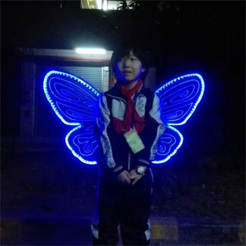 New Led Luminous Light Up Flashing Growing Wings For Child Dance Costume Can Change 7 Colors For Stage Show DHL Free Shipping