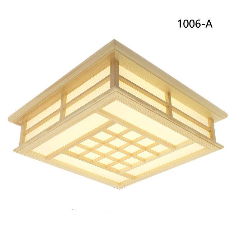 Japanese Style Tatami Wood Ceiling and Pinus Sylvestris Ultrathin LED Lamp Natural Color Square Grid Paper Ceiling Lamp Fixture in Ceiling Lights from Lights Lighting
