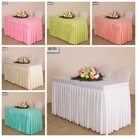 White Colour Table Skirt Polyester Material Table Swag Pleated Style Wedding Hotel Table Decoration Tablecloth Hang
