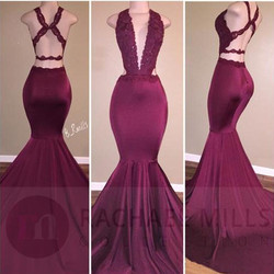 Sexy mermaid burgundy prom dresses long 2017 open back robe de soiree deep v neck party.jpg 250x250