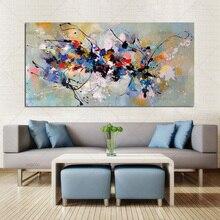Pintura abstrata de óleo em tela 100%, artesanal colorida de arte para decoração de parede