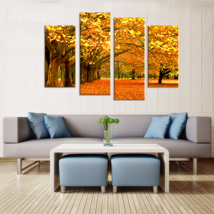 2016 Sale Wall Pictures for Living Room Cuadros Falling Leaf In The Fall 4pcs Wall Painting,home Paintings Printed On Canvas