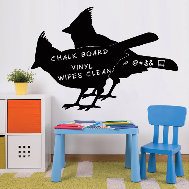 Birds chalkboard vinyl wall art decal stickers bird lover decals kids playroom decor blackboard removable wallpaper