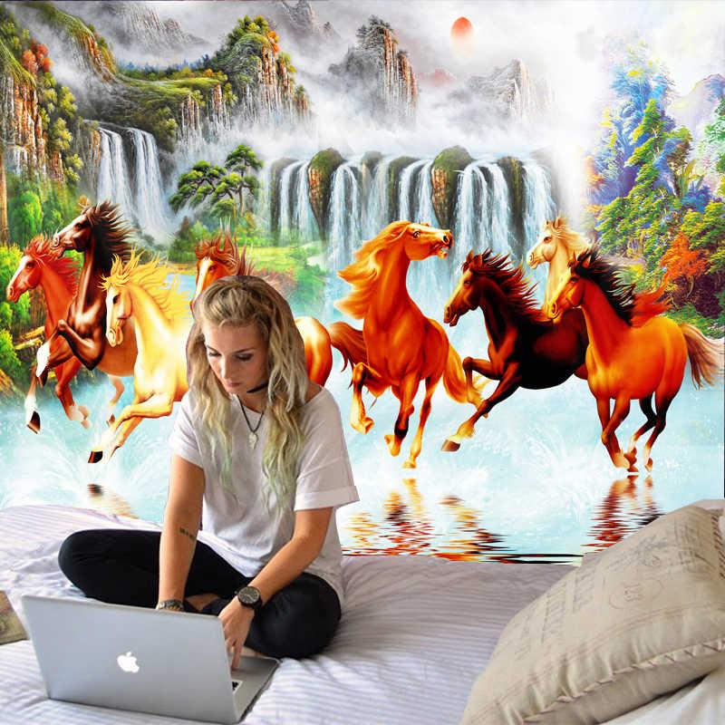 美しいペンティアム馬装飾サイケデリックタペストリー壁掛けインド曼荼羅タペストリーヒッピータペストリー自由奔放に生きる壁布