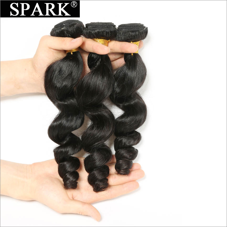 Brazilian Loose Wave Hair 3 Bundle Deals Human Hair Weave Spark Remy Hair Extensions Natural Color Hair Weaving Can Be Dyed