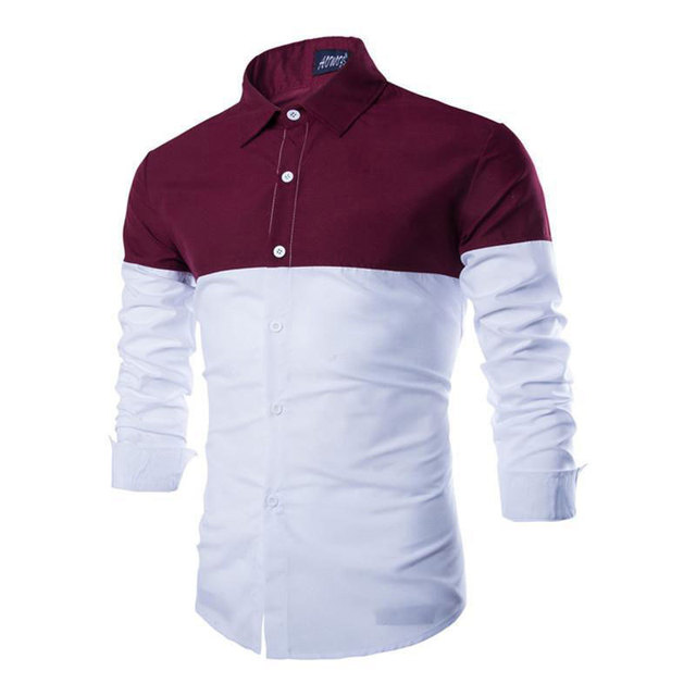2015 New Men Long Sleeve Shirt Luxury Stylish Mens Printing Slim ...