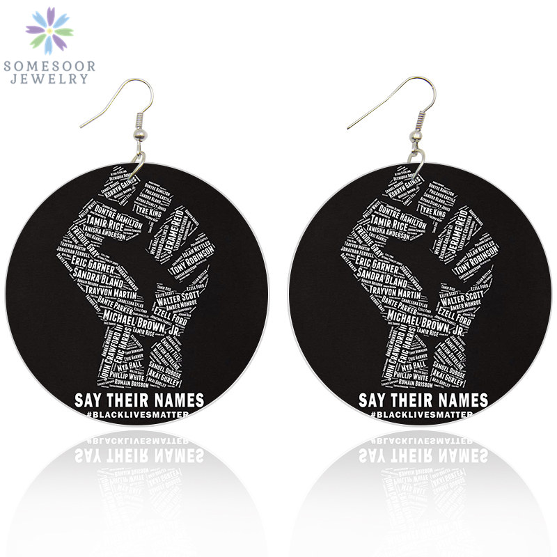 SOMESOOR Printed African Power Fist Wooden Drop Earrings With Black Lives Matters Afro History Figure Names For Black Women Gift