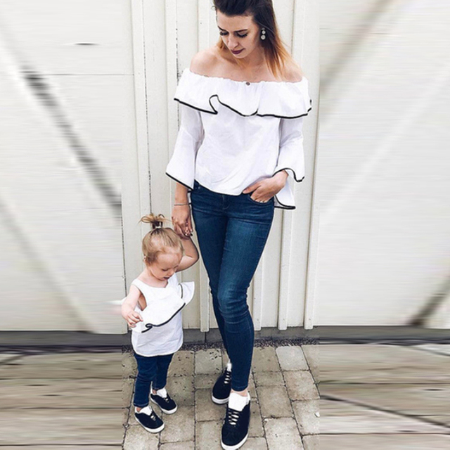 2d9ceab92707c5 2018 Summer Sexy Off Shoulder Blouse Family Matching Outfit Blusa Ruffle  Flare Sleeve Women Girls Clothes Casual Solid White Top