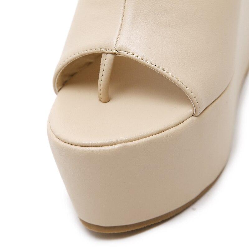 Wedge Tacón Cm 13 Flip Zapatos Moda Plataforma Gladiador Beige Del Bottom Verano Alto negro Heel Flops De Mujeres Thick Sandalias Pqxdrqa