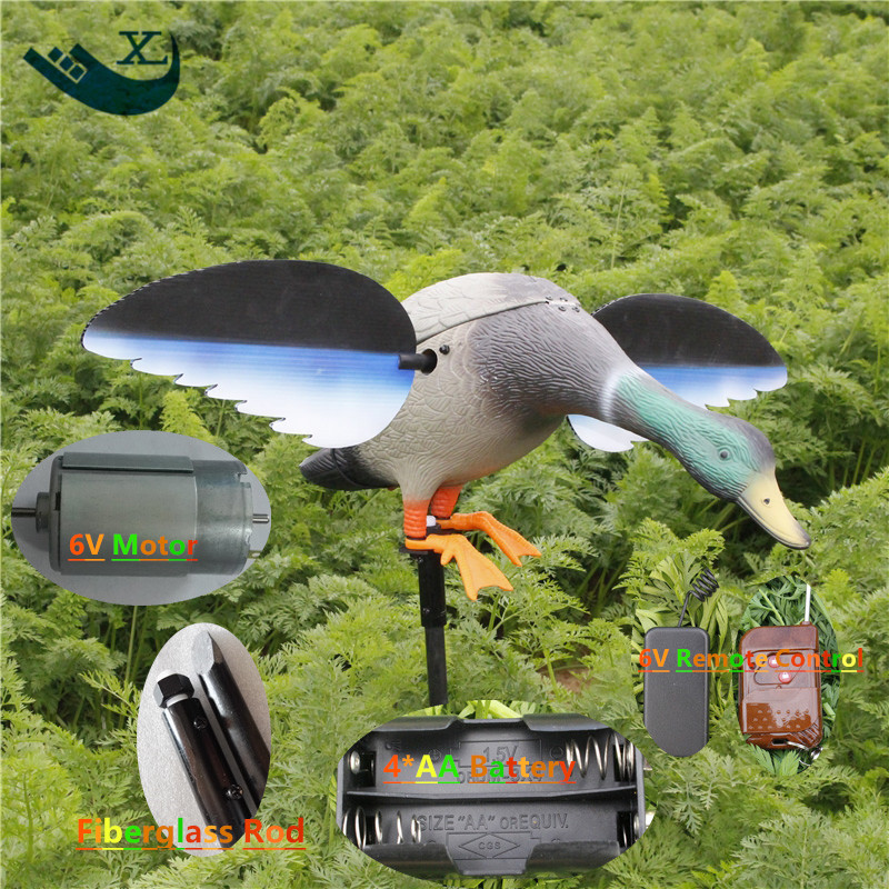 ФОТО Xilei Wholesale 6V  Remote Control Green Head Hunting Duck Decoy With Magnet Spinning Wings