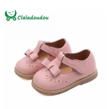 Claladoudou 12-14CM Brand 2019 Spring Genuine Leather Shoes Newborn Infant Shoes Girls Brogue Princess Strap Infant Shoes Girls