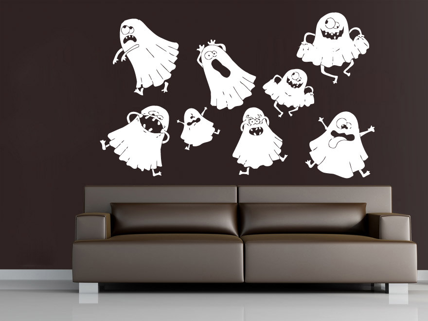 Cute Lovely Ghost Halloween Wall Decals Vinyl Wall Sticker Home Bedroom  Creative Decor Happy Halloween Party Wall Poster Q 41