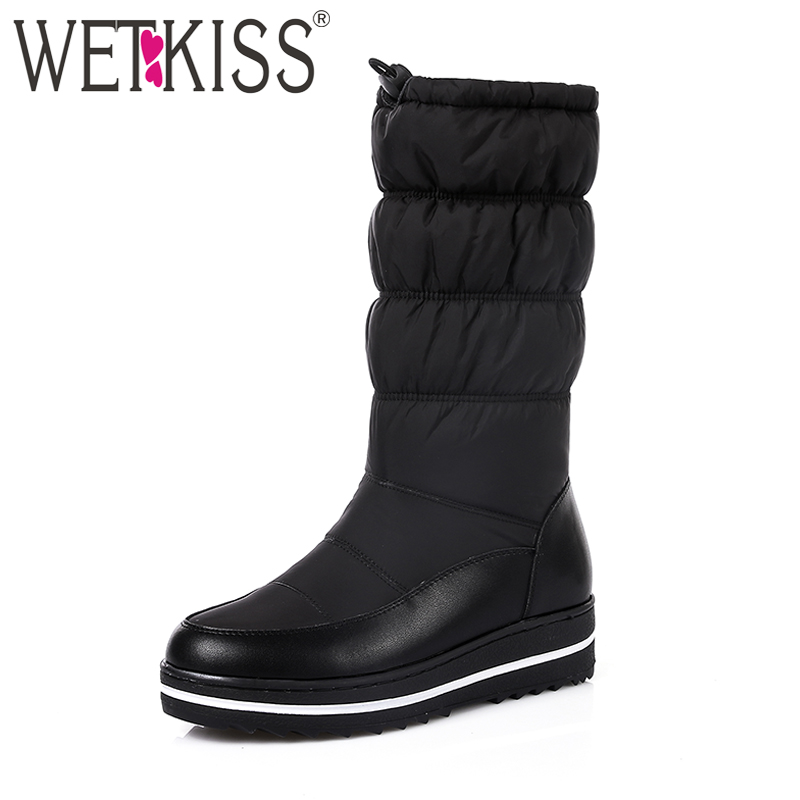 WETKISS 2017 Genuine Leather Keep Warm Down Winter Boots Women Thick Plush Snow Boots Skidproof Wedges Platform Shoes Woman fedonas new genuine leather snow boots women thick fur warm down mid calf winter boots round toe platform shoes woman black