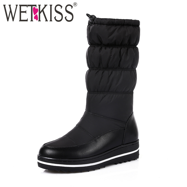 WETKISS Genuine Leather Keep Warm Down Winter Boots Women Thick Plush Snow Boots Skidproof Wedges Platform Shoes Woman 2019