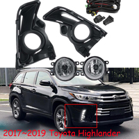 1set car Bumper lamp for toyota highlander fog light 2pcs fog lamp+2pcs cover frame+1pcs wire of harness+1pcs Switch ON/OFF4300k