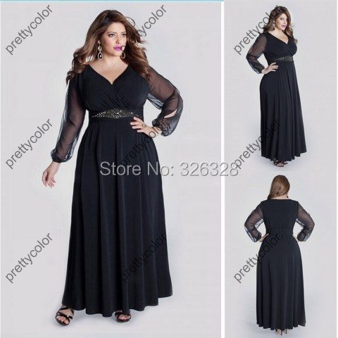 Long Sleeves Plus Size Chiffon Gowns Evening Dress With Crystal