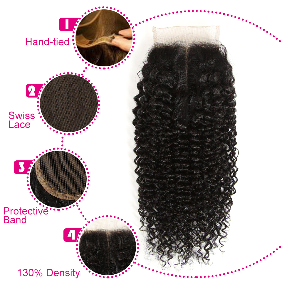 Joedir Peruvian Hair 3 Bundles Curly Hair With Closure Non Remy Kinky - Skönhet och hälsa - Foto 6