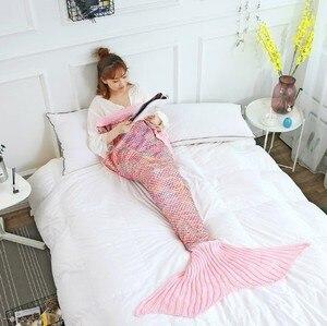 Image 4 - CAMMITEVER Mermaid Tail Blanket Yarn Knitted Handmade Crochet Mermaid Blanket Kids Throw Bed Wrap All Seasons Sleeping Knitted