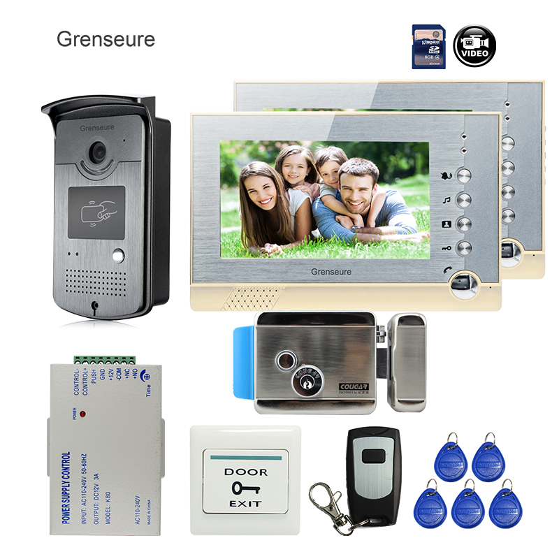 FREE SHIPPING BRAND 7 Color Recording Video Door phone Intercom System + 2 Monitor + RFID Card Reader Camera + Electric lock free shipping brand new 7 home video intercom door phone system with recording monitor rfid card reader door camera wholesale