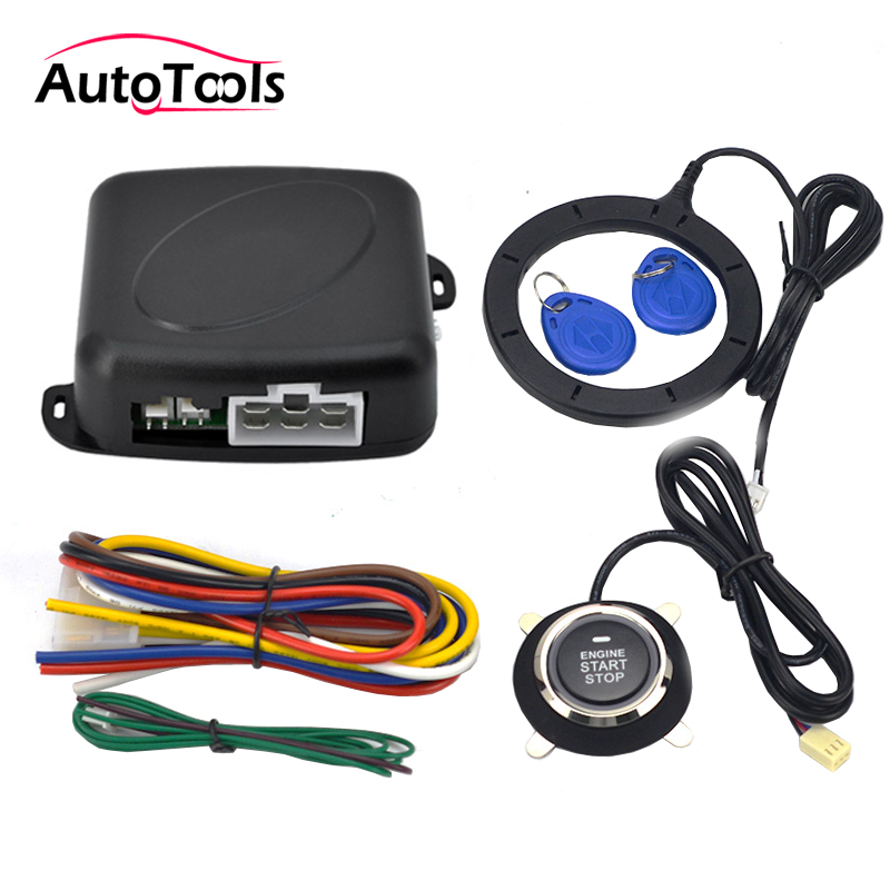 Auto Car Alarm Engine Starline Push Button Start Stop RFID Lock Ignition Switch Keyless Entry System Autostart Anti-theft System