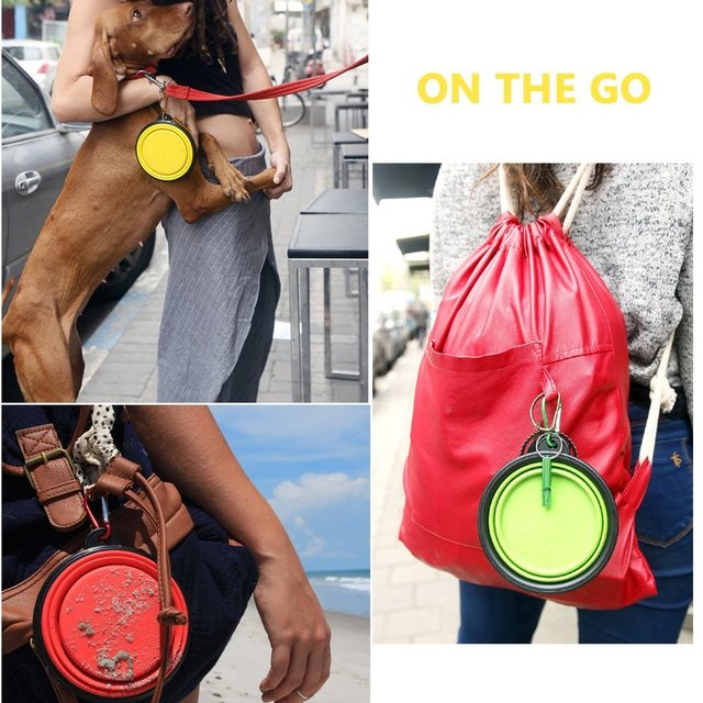 New Dog accessories silicone dog bowl candy color outdoor travel portable puppy doogie food container feeder dish on sale 8