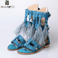 Prova Perfetto 2017 Summer Euramerican Sexy Peep Toe Tassel Sandals Woman Flat Buckle Strap Hollow out with Feather Sandals Boot