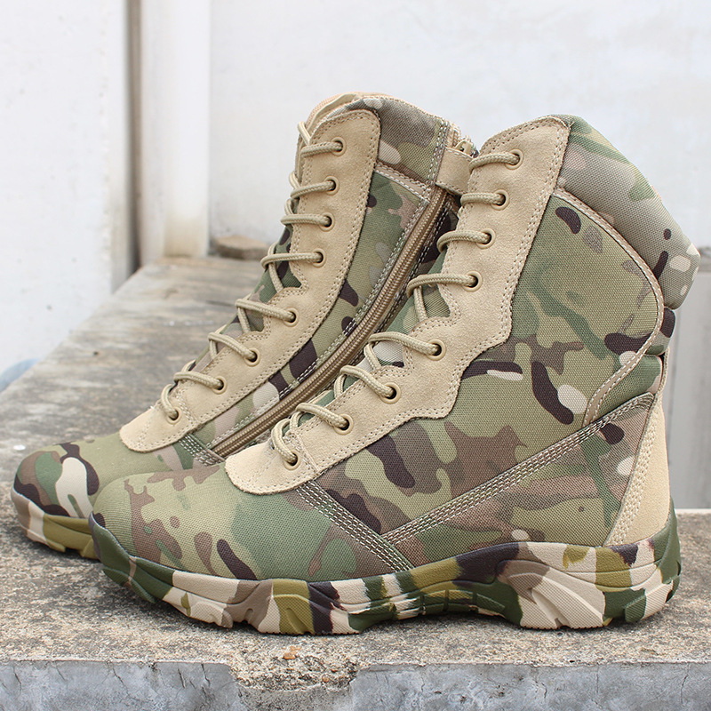Men High Tube Jungle Desert Walking Boots Outdoor Camping Hunting Breathable US Army Camouflage Combat Tactical Boot Ankle Shoes walking through the jungle