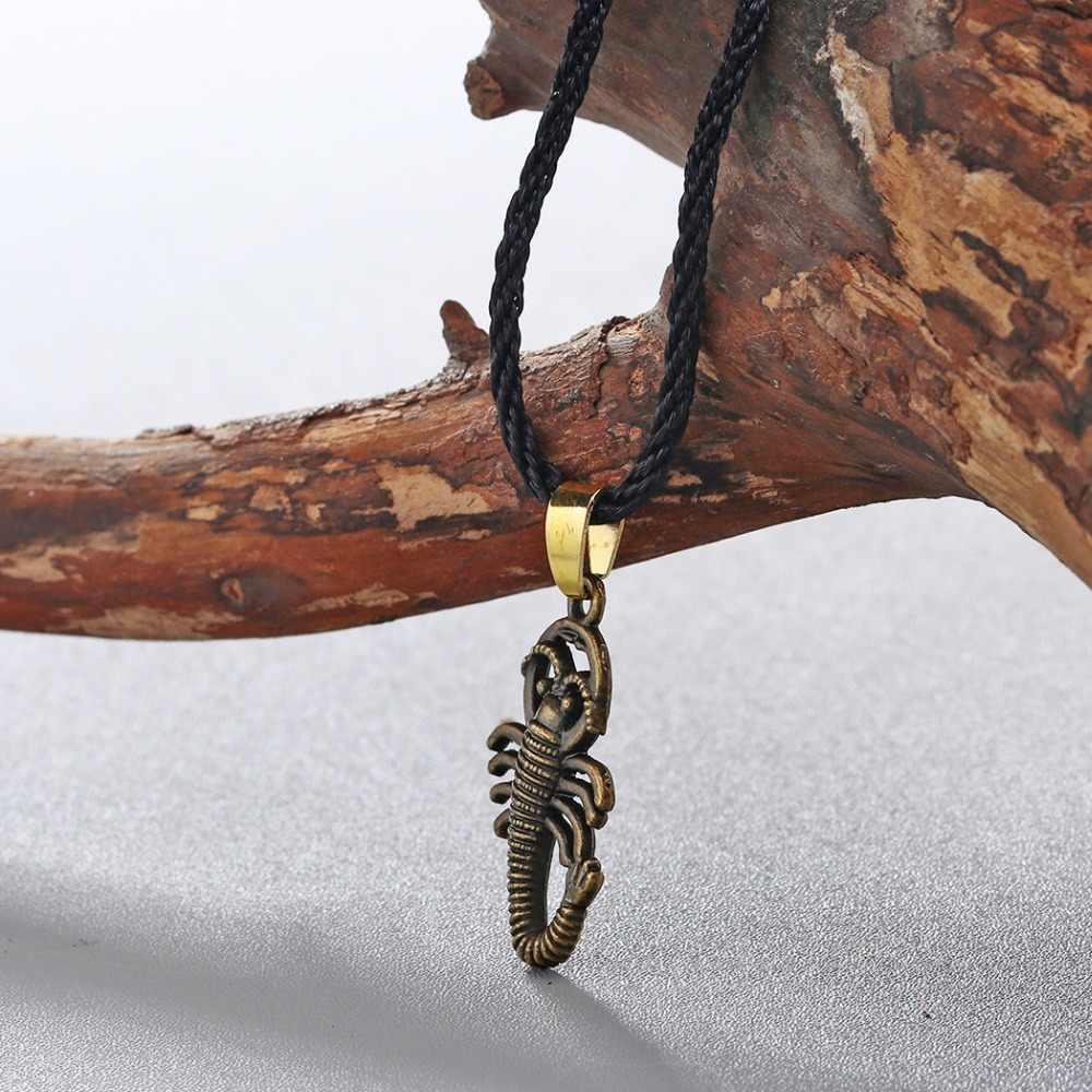 QIMING antyczny brąz skorpion mężczyzna naszyjnik kobiety biżuteria w stylu Vintage owady wisiorek czarna lina Unisex męskie naszyjniki prezent