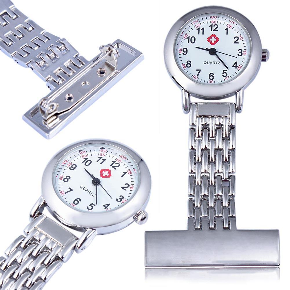 Fashion Best Brand Vintage Silver Stainless Steel Nurses Pocket Quartz Fob Watch Silver CAN Pendant Necklace Gift