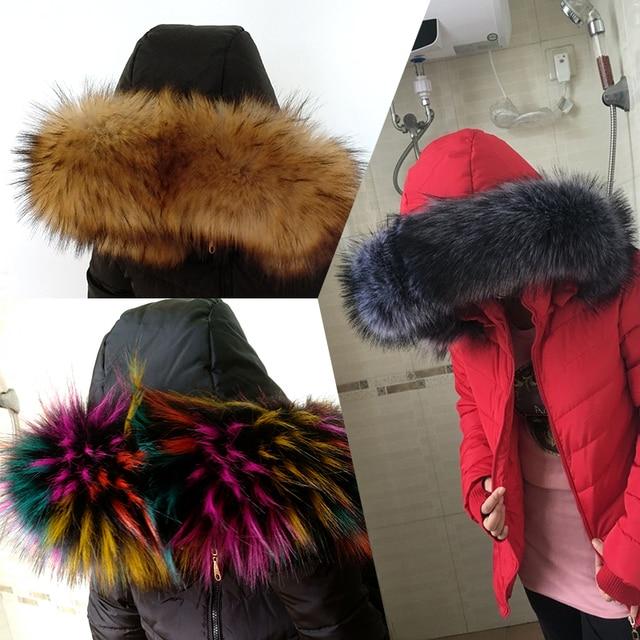 באיכות גבוהה חורף מעיל צווארון דקור פו פרווה צעיף כובע דקור פו שועל פרווה צעיף fuax raccon פרווה צעיף רב צבעים מעיל דקור