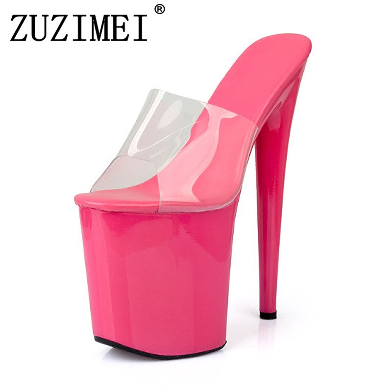20cm Super High Heel Platform Women Sandals 2018 New Sexy Nightclub Party Woman High Heels Slides Summer Crystal Shoes 2017 new design women fashion transparent thin heels sandals 20cm super high heel shoes crystal wedding shoes adhesive sandals