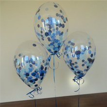 цена на 10pcs/lot Clear Balloons Blue Black White Confetti Transparent Balloons Christmas,Birthday Baby Shower Wedding Party Decorations
