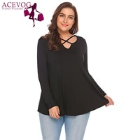 ACEVOG Women Basic T Shirts Big Size Tops Autumn Cross Notched Neck Long Sleeve Solid Large