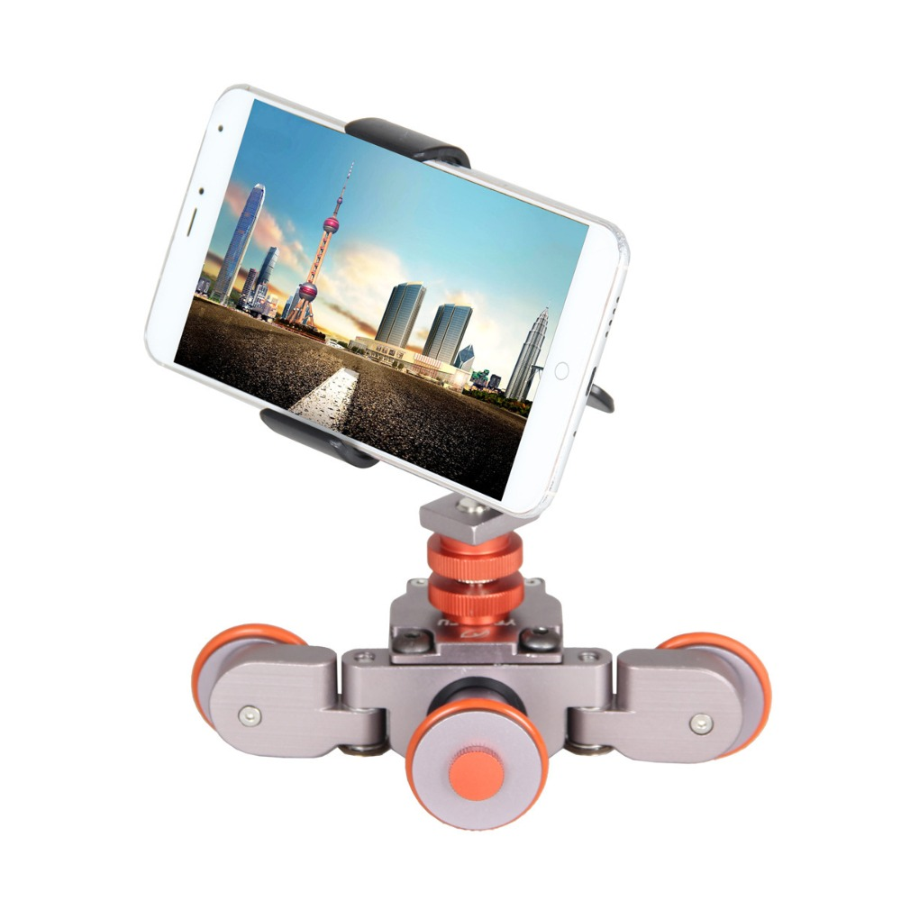 цена на Mini Motorized Electric Track Slider Dolly Car 3-Wheel Video Pulley Rolling Skater for Cannon Nikon Sony DSLR Cam & Smartphone