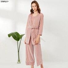 DANALA 3 Pieces Gold Velvet Warm Winter Pajamas Sets Women Simple Stripe Robe Sleepwear Kit Sleeveless Nightwear Nightie