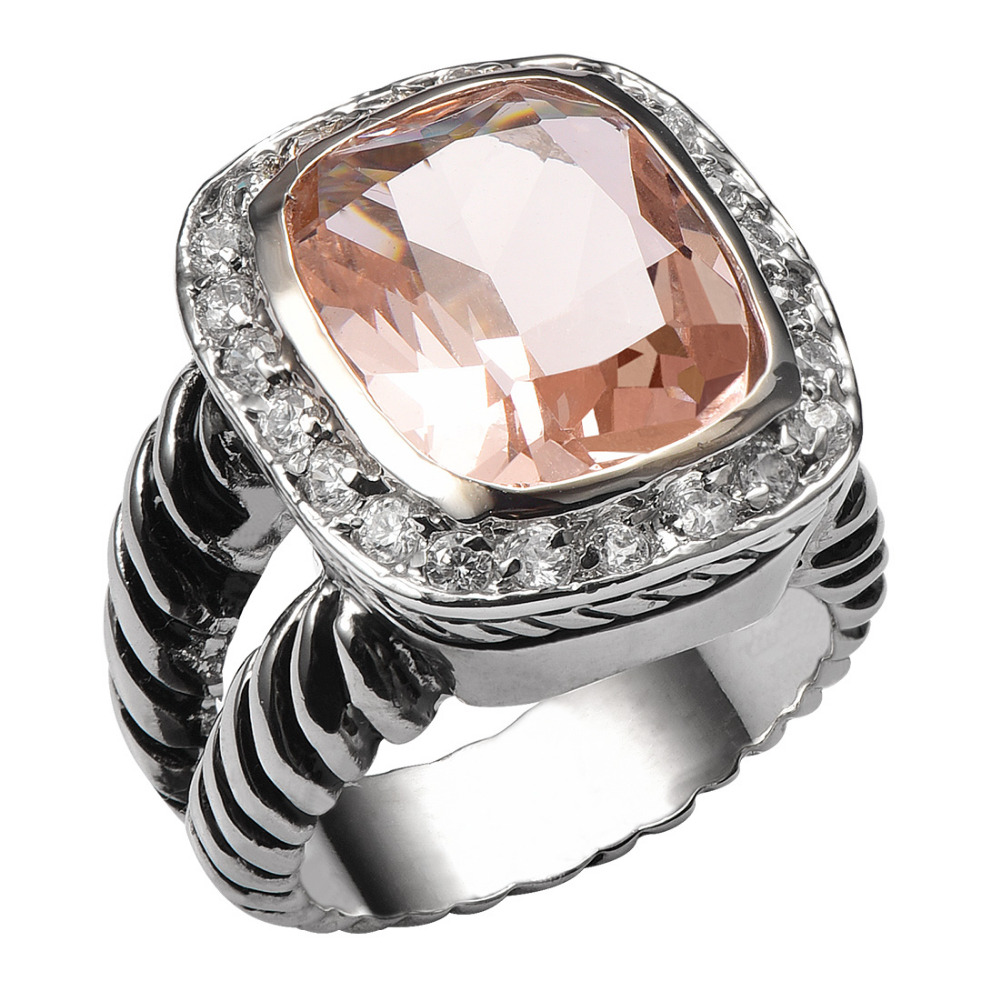 Hot Sale Morganite 925 Sterling Silver High Quantity Ring For Men and Women Fashion Jewelry Party Gift Size 6 7 8 9 10 F1461