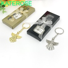 40PCS Baby Christening Gift Guardian Angel Silver Key Chain Wedding&Bridal Shower Favors For Guest