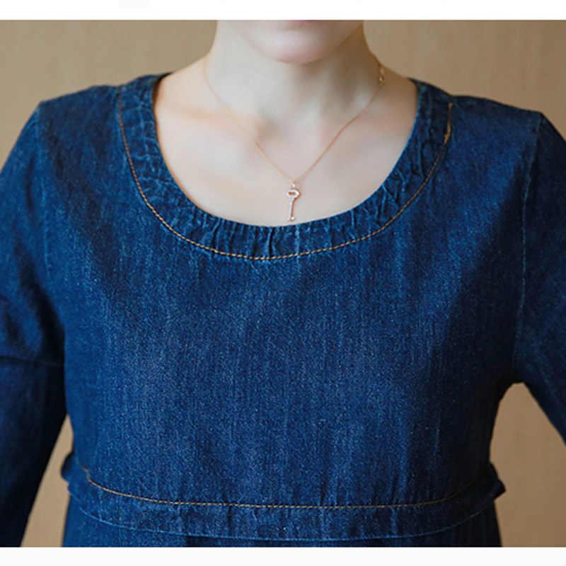 Clobee 2019 Весна по колено Туника Жан женское платье офисное с длинным рукавом платье из джинсовой ткани плюс размеры женская одежда vestidos de festa
