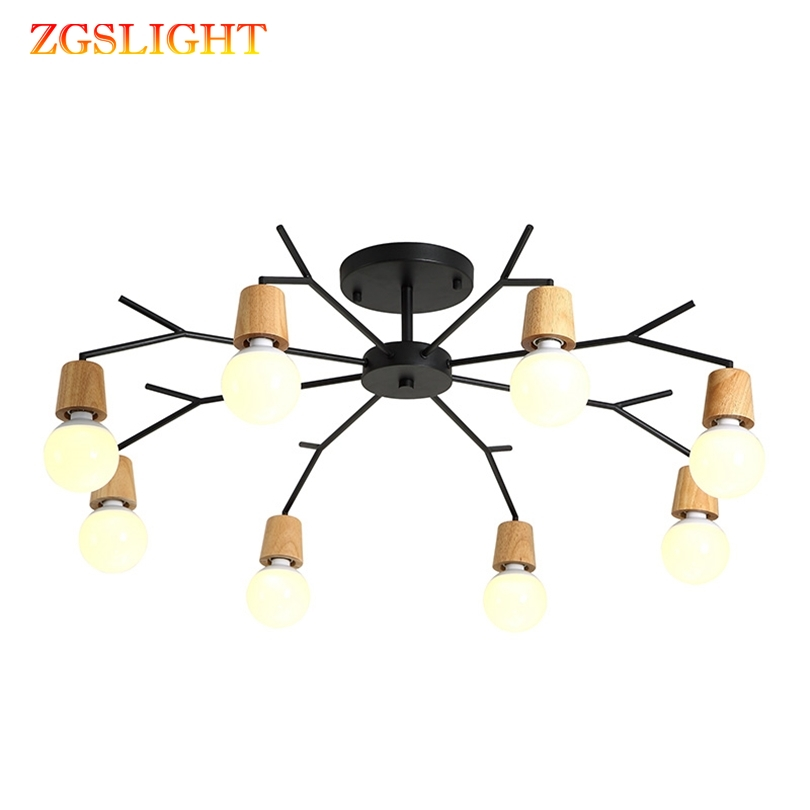 Retro Art Spider Ceiling Lamp Iron Edison Bulb Vintage Loft Wood Ceiling Lights Modern LED Home Living Room Decor Fixtures